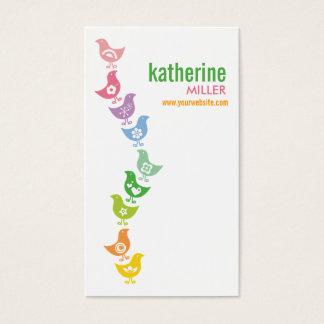 かわいいバランスをとるレトロの虹のひよこのプロフィールカード 名刺