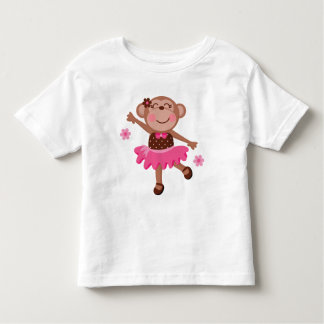 かわいいバレエ猿 トドラーTシャツ