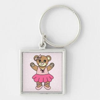 かわいいバレリーナの踊りのテディー・ベア-ピンク キーホルダー