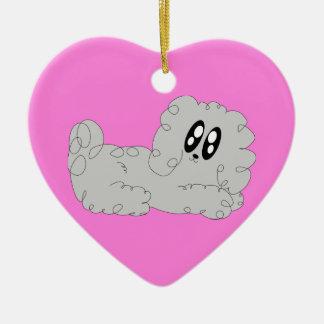 かわいいバレンタインの漫画の巻き毛のプードルの小犬 セラミックオーナメント