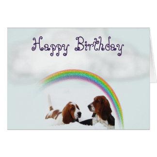 かわいいバースデー・カードw/Bassetの猟犬および虹 カード