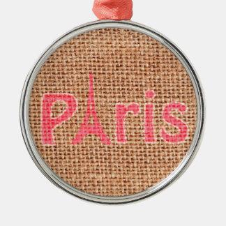 かわいいバーラップの質のピンクのパリエッフェル塔のプリント メタルオーナメント
