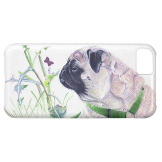 かわいいパグおよび蝶芸術のiPhone 5の場合 iPhone5Cケース