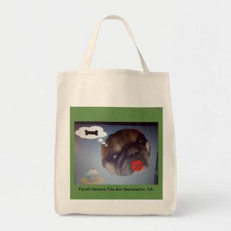 かわいいパグが付いている綿のあや織りの買い物袋 トートバッグ