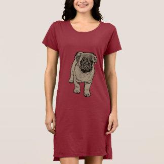 かわいいパグの女性の代わりとなる服-赤 ドレス