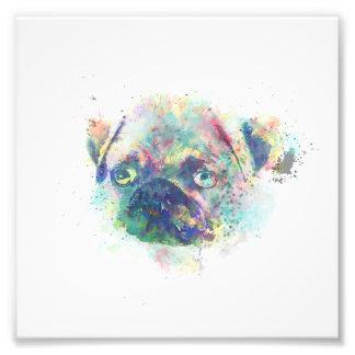かわいいパグの子犬の水彩画の(ばちゃばちゃ)跳ねるのペンキ フォトプリント