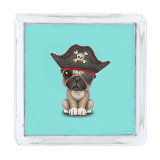かわいいパグの子犬の海賊 シルバー ラペルピン