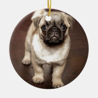 かわいいパグの子犬 セラミックオーナメント
