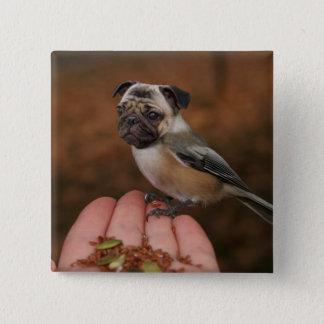 かわいいパグの鳥の正方形ボタン 5.1CM 正方形バッジ