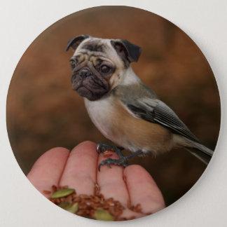 かわいいパグの鳥ボタン 15.2CM 丸型バッジ