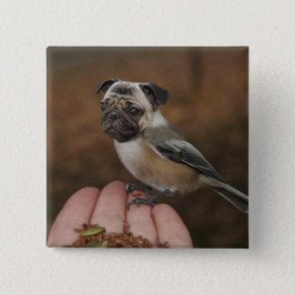 かわいいパグの鳥ボタン 5.1CM 正方形バッジ