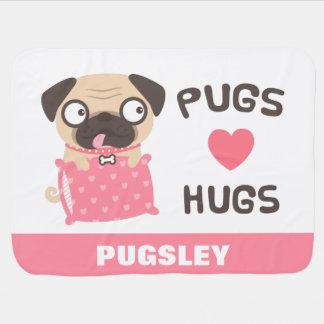 かわいいパグ愛は名前入りな犬毛布を抱き締めます ベビー ブランケット