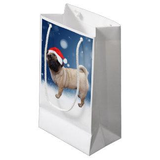 かわいいパグ犬のクリスマスのサンタの帽子の雪の星 スモールペーパーバッグ