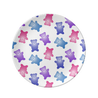 かわいいパステル調のテディー・ベアの新生児 磁器プレート