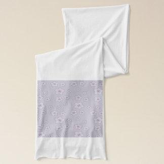 かわいいパステル調のラベンダーの銀の桜パターン スカーフ