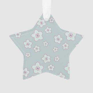 かわいいパステル調の青い桜パターン オーナメント