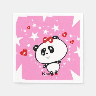 かわいいパンダくまのおもしろいな名前入り スタンダードカクテルナプキン
