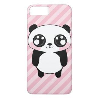 かわいいパンダくまのピンクのストライプの背景 iPhone 8 PLUS/7 PLUSケース