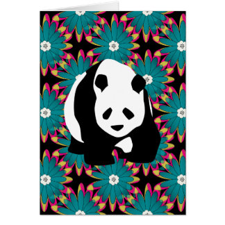 かわいいパンダくまの青いピンクの花の花柄パターン カード