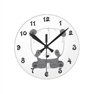 かわいいパンダくま ラウンド壁時計