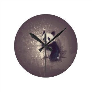 かわいいパンダの抽象芸術 ラウンド壁時計