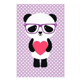 かわいいパンダの紫色 便箋