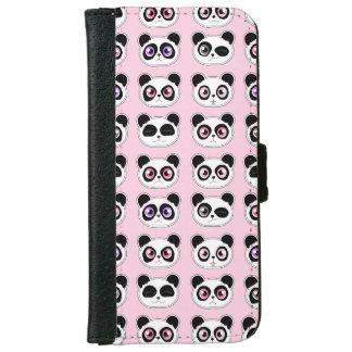 かわいいパンダの表現パターンピンク iPhone 6/6S ウォレットケース
