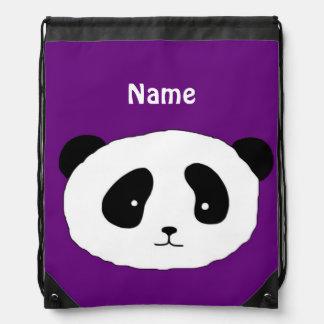 かわいいパンダの顔の紫色 ナップサック