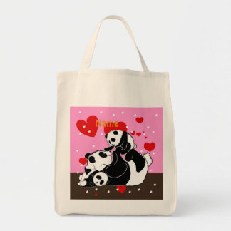かわいいパンダ家族のお母さんおよび赤ん坊のパンダ トートバッグ