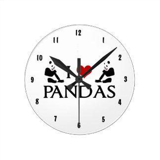 かわいいパンダ ラウンド壁時計