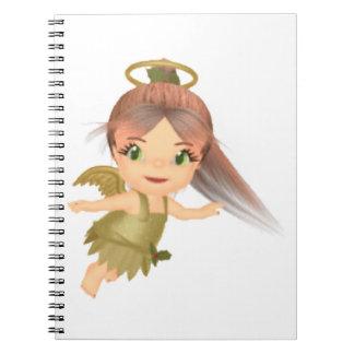 かわいいヒイラギの金ゴールドの赤ん坊の天使 ノートブック