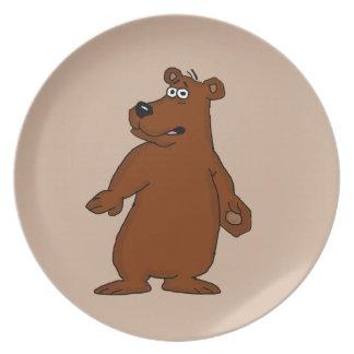 かわいいヒグマのデザインのディナー用大皿 プレート