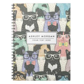 かわいいヒップスター猫パターン ノートブック