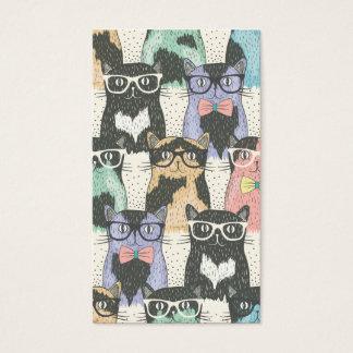 かわいいヒップスター猫パターン 名刺