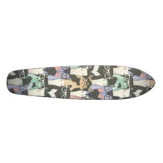 かわいいヒップスター猫パターン 18.1CM オールドスクールスケートボードデッキ