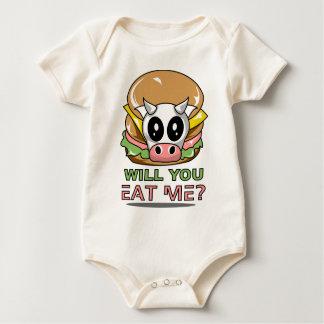 かわいいビーガンのハンバーガーのTシャツ ベビーボディスーツ