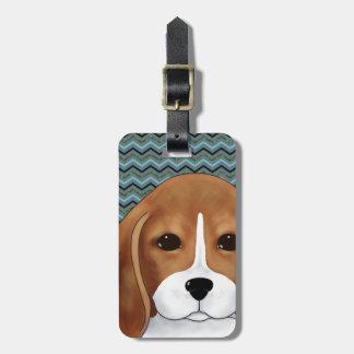 かわいいビーグル犬の小犬のシェブロン青い海軍金ゴールド ラゲッジタグ