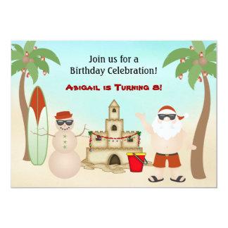 かわいいビーチのクリスマスの休日の誕生日の招待状 12.7 X 17.8 インビテーションカード