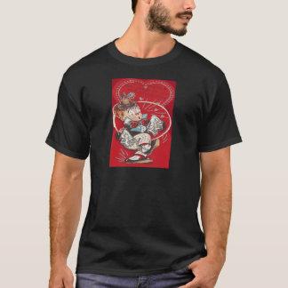 かわいいピエロの花のくしゃみのハートのバレンタイン Tシャツ