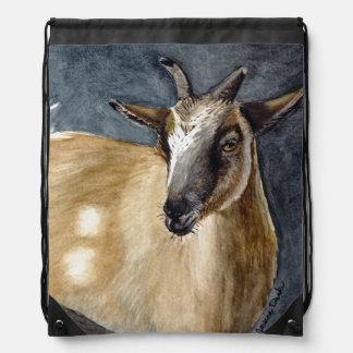 かわいいピグミーのヤギの水彩画のアートワーク ナップサック