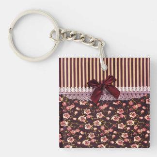 かわいいピンクおよびブラウンのヴィンテージの花 キーホルダー