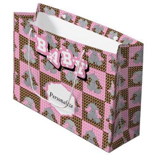 かわいいピンクおよびブラウン象の水玉模様 ラージペーパーバッグ