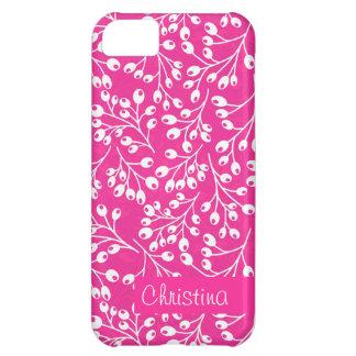かわいいピンクおよび白い秋の果実 iPhone5Cケース