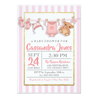 かわいいピンクおよび金ゴールドのベビーシャワーの招待状 カード