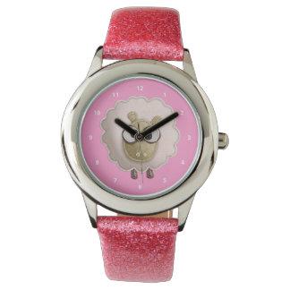 かわいいピンクののどのフェルトのヒツジ 腕時計