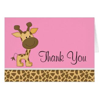 かわいいピンクのキリンのサンキューカード カード