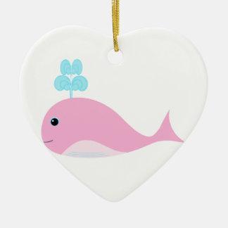 かわいいピンクのクジラ セラミックオーナメント