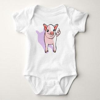 かわいいピンクのコブタのスケッチの赤ん坊のジャンプスーツ ベビーボディスーツ