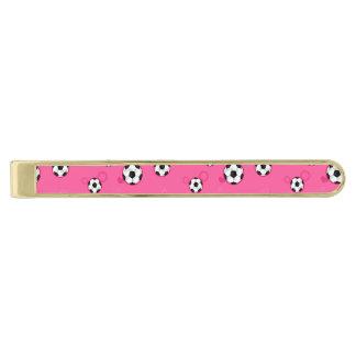 かわいいピンクのサッカーパターン 金色 ネクタイピン