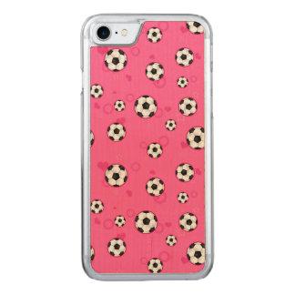 かわいいピンクのサッカーパターン CARVED iPhone 8/7 ケース